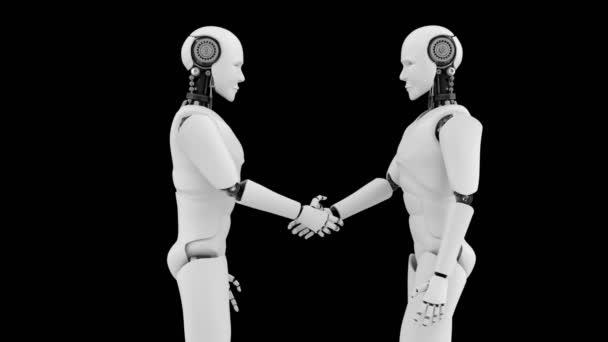 Futuristický robot handshake, umělá inteligence CGI na černém pozadí