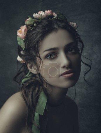 Attractive woman in traditional ukrainian crown
