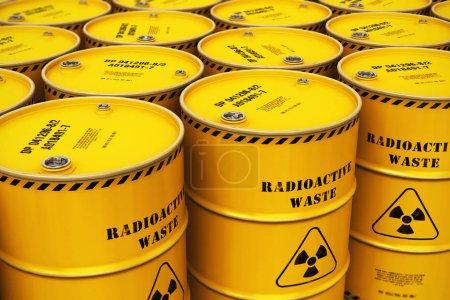 Photo pour Concept créatif abstrait de l'industrie de la fabrication, du stockage et de l'utilisation du combustible nucléaire : illustration en 3D du groupe de barils, fûts ou conteneurs en métal jaune empilés contenant des matières radioactives dangereuses empoisonnées dans l'industrie - image libre de droit