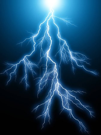 Foto de 3d abstracto creativo render ilustración del arco rayo azul eléctrico descarga exitosa huelga efectos de luz sobre fondo negro oscuro - Imagen libre de derechos