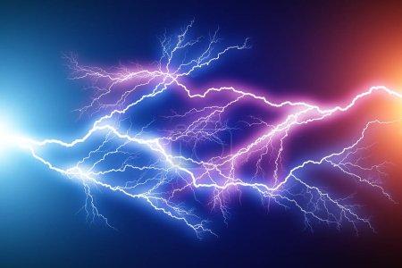 Foto de 3d abstracto creativo render ilustración del azul y rayo rojo arco golpe strike descarga eléctrica efecto de luz sobre fondo negro oscuro - Imagen libre de derechos