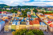 Scenic summer aerial view of the Market Square architecture in the Old Town of Lviv, Ukraine