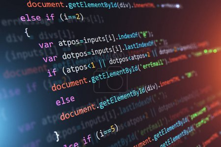 Photo for Creative abstract PHP web design, internet programming HTML language and digital computer technology business concept: 3D render illustration of the macro view of software source code on screen monitor with selective focus effect - Royalty Free Image