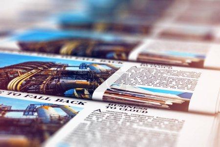 Photo pour Illustration de rendu 3D de la vue de macro de l'impression couleur quotidiens des affaires ou nouvelles études sur la machine d'impression offset en typographie avec mise au point sélective bokeh blur effet - image libre de droit