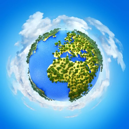 Photo for Creative abstract global ecology and environment protection business concept: 3D render illustration of miniature mini green Earth planet globe with world map against blue sky with white clouds background - Royalty Free Image
