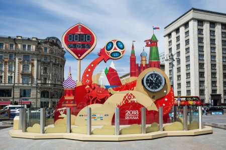 MOSCOW, RUSSIA  JUNE 4, 2018: Clock of the 2018 FIFA World Cup in Russia on Manezhnaya square, near Red Square.