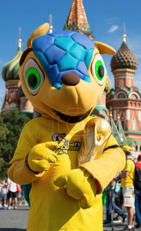 "MOSCOW, RUSSIA - June 27, 2018: A man in a wolfish suit- official talisman of FIFA world Cup 2018 wolf ""Zabivaka""  on  Red Square."