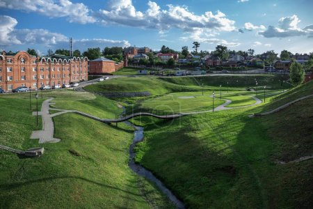 General view of the park of the ancient Russian town of Sergiev Posad