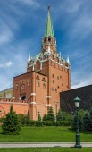 MOSCOW, RUSSIA - June 4, 2018: famous Alexander Garden near walls of Moscow Kremlin.