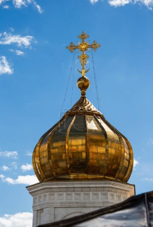 Golden dome on Cathedral of Christ the Savior in Moscow