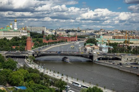 MOSCOW, RUSSIA - June 9, 2018: Panoramic top view of the Kremlin and Moscow River