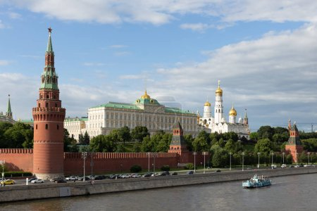 Panoramic top view of the Moscow river and the Kremlin