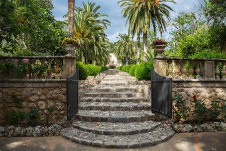 Photo pour Allée dans le parc Alfabia Gardens sur la montagne Tramuntana, Majorque, Îles Baléares, Espagne - image libre de droit