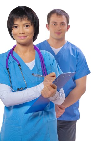 couple medical workers isolated on white