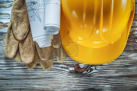 Leather protective gloves construction plans hard hat on vintage