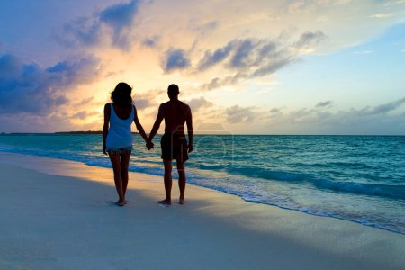 Photo for Family relax on the beach. Vacation at Paradise. Ocean beach relax, travel to Maldives islands - Royalty Free Image