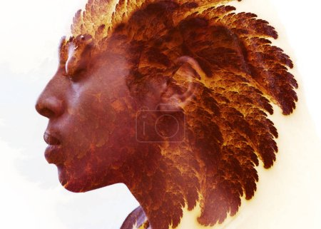 Dark skinned young man with a peaceful expression combined with feather like fractal shining through his hair