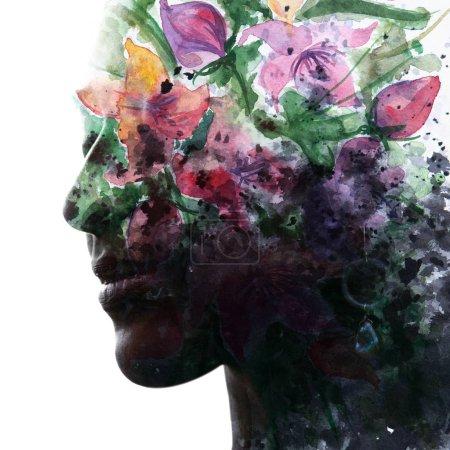 Photo pour Peinture. Photographie de portrait se mélange avec des œuvres d'art originales - image libre de droit