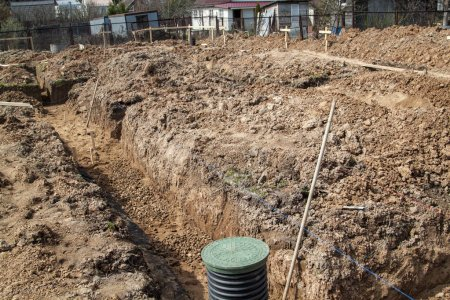 trench dug by hand under the Foundation or for laying drainage