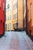 bicycle on old street in Stockholm, Sweden
