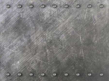 Background formed by scratched metal plate with rivets. 3D illustration.