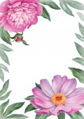 Background with watercolor illustrations of peony flowers. Perfect for greeting cards or invitations