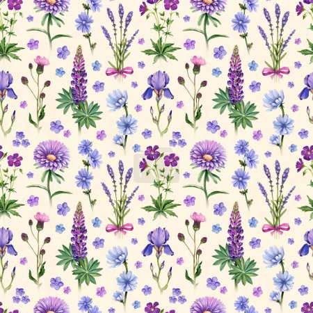 Watercolor illustrations of blue and purple flowers. Seamless pattern