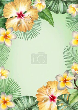 Photo for Watercolor tropical floral background - Royalty Free Image
