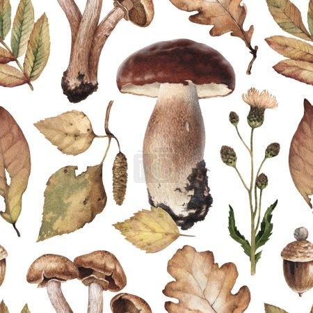 Watercolor illustrations of mushrooms, leaves . Seamless pattern