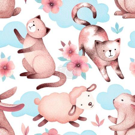 Photo pour Illustrations aquarelles de chats, moutons, lapins et fleurs. Modèle sans couture - image libre de droit