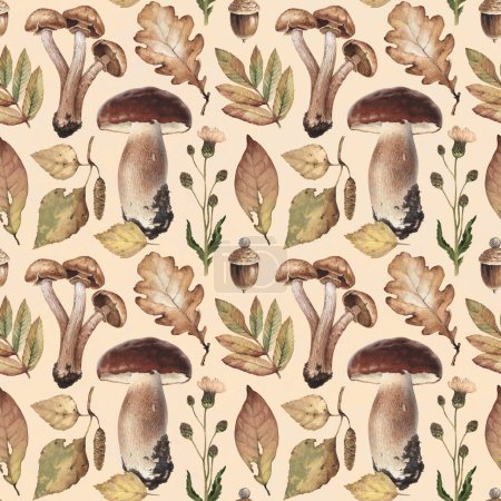 Watercolor illustrations of mushrooms, leaves . Seamless pattern