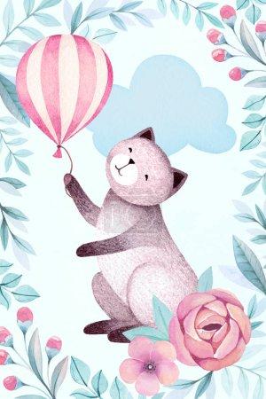 Photo pour Illustration aquarelle d'un chat et de fleurs - image libre de droit