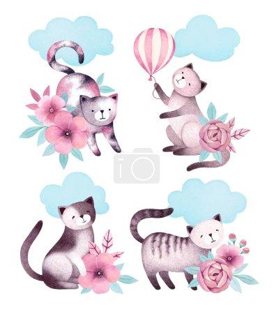 Photo pour Illustrations aquarelles de chats et fleurs - image libre de droit