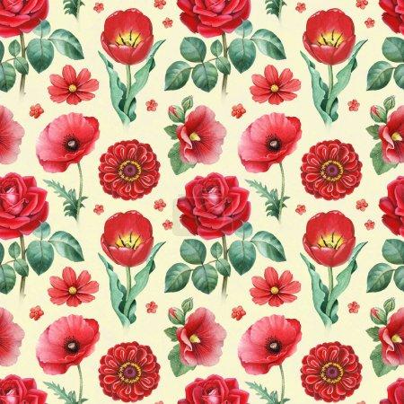 Photo pour Illustrations aquarelles de fleurs rouges. Modèle sans couture - image libre de droit