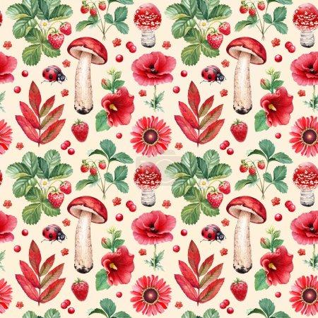 Photo pour Modèle sans couture d'été. Illustrations aquarelles de fleurs, baies, champignons et insectes - image libre de droit