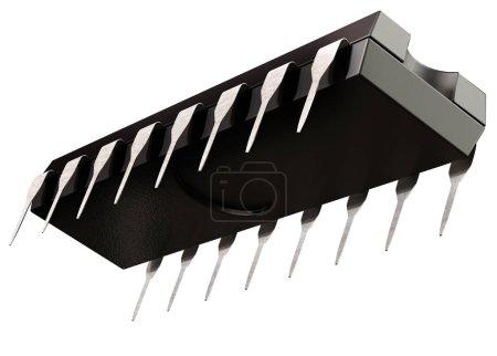 Photo pour Micro puce de circuit intégré ou de la logique et des nouvelles technologies sur isolé. Élément d'intelligence artificielle de pièces d'ordinateur, de régulateurs de tension llinear. Vue de dessous. rendu 3D d'ordre 16 - image libre de droit