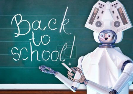 Teacher robot with artificial intelligence in school class blackboard.