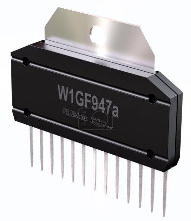 Photo pour Circuit intégré ou micro puce sur isolé. Ordinateur pièces intelligence artificielle composant électrique des circuits intégrés et les potentiomètres numériques. rendu 3D d'amplificateur de puissance audio Cmos - image libre de droit