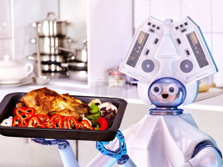 Robot domestic assistance cook at kitchen.
