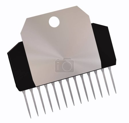 Photo for Integrated circuit or micro chip and new technologies on isolated. Computer parts artificial intelligence component with radiator metal digital electrical integrated circuits. 3d rendering. Back view. - Royalty Free Image