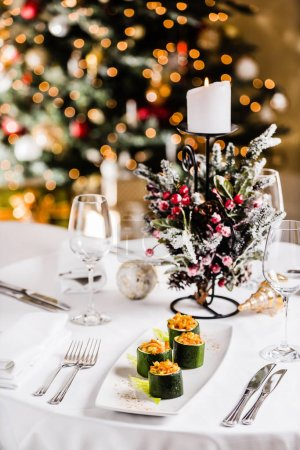 tasty Christmas table, close up