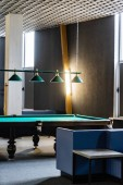 billiard table, ball and cue