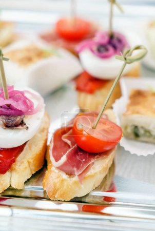 Photo for Catering food on the tray, close up - Royalty Free Image