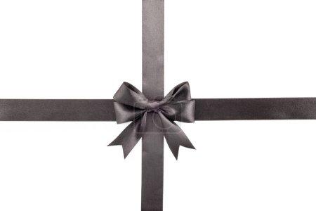 Photo pour Black bow avec ruban sur fond blanc. - image libre de droit
