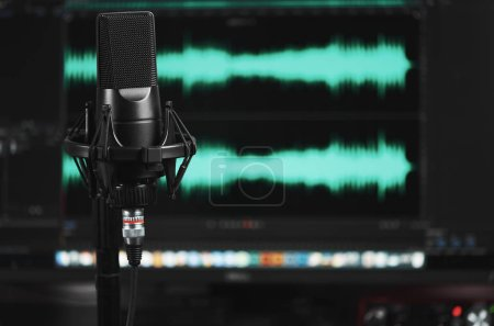 Photo for Professional microphone on a stand. Sound recording at home - Royalty Free Image