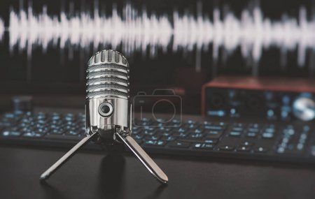 Photo for Microphone on a table. Home audio recording or blogging concept - Royalty Free Image