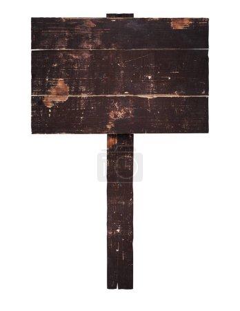 Photo pour Vieux panneau en bois sur un bâton avec place pour votre texte. isolé sur blanc - image libre de droit
