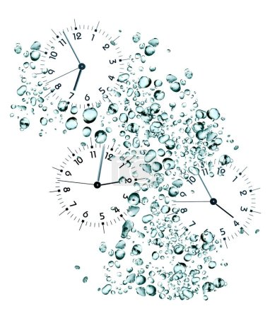 Photo for Time flowing concept. Clock faces on background with lot of water drops - Royalty Free Image
