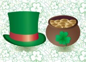 Background for St Patrick's Day decoration with green top hat and pot with leprechaun gold on hand drawn background for use in any social networks and on any sites vector illustration Part 1 More in my portfolio