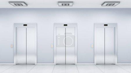 Photo pour L'intérieur de la salle avec les ascenseurs (rendu 3d ) - image libre de droit
